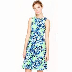 J. CREW Green & Blue Floral Sleeveless Dress